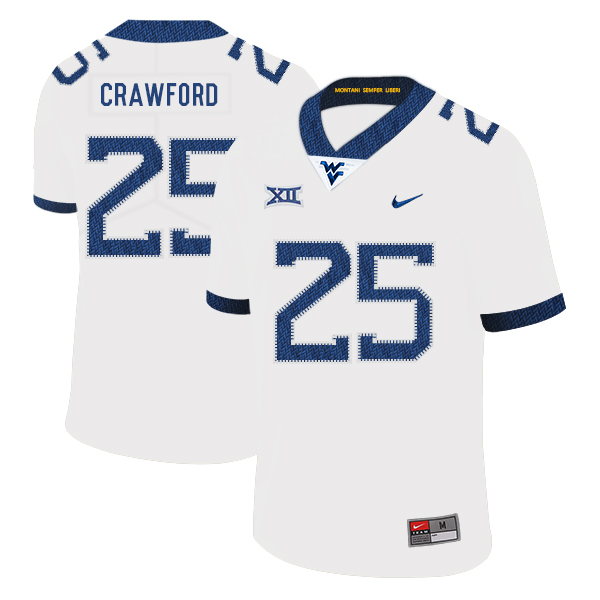 West Virginia Mountaineers 25 Justin Crawford White College Football Jersey