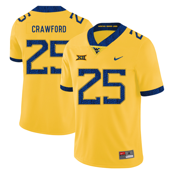 West Virginia Mountaineers 25 Justin Crawford Yellow College Football Jersey