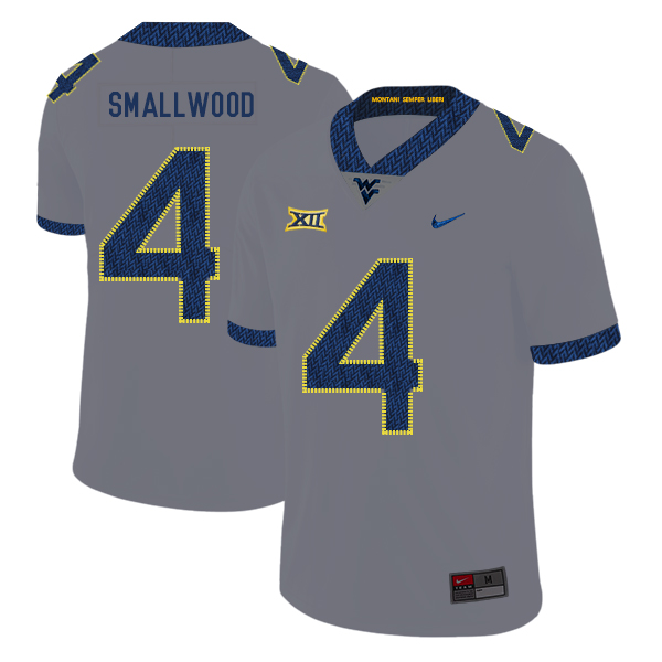 West Virginia Mountaineers 4 Wendell Smallwood Gray College Football Jersey