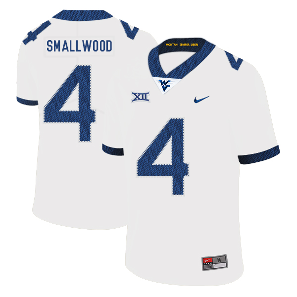 West Virginia Mountaineers 4 Wendell Smallwood White College Football Jersey