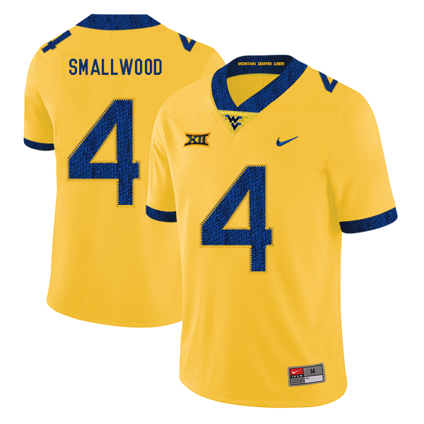 West Virginia Mountaineers 4 Wendell Smallwood Yellow College Football Jersey