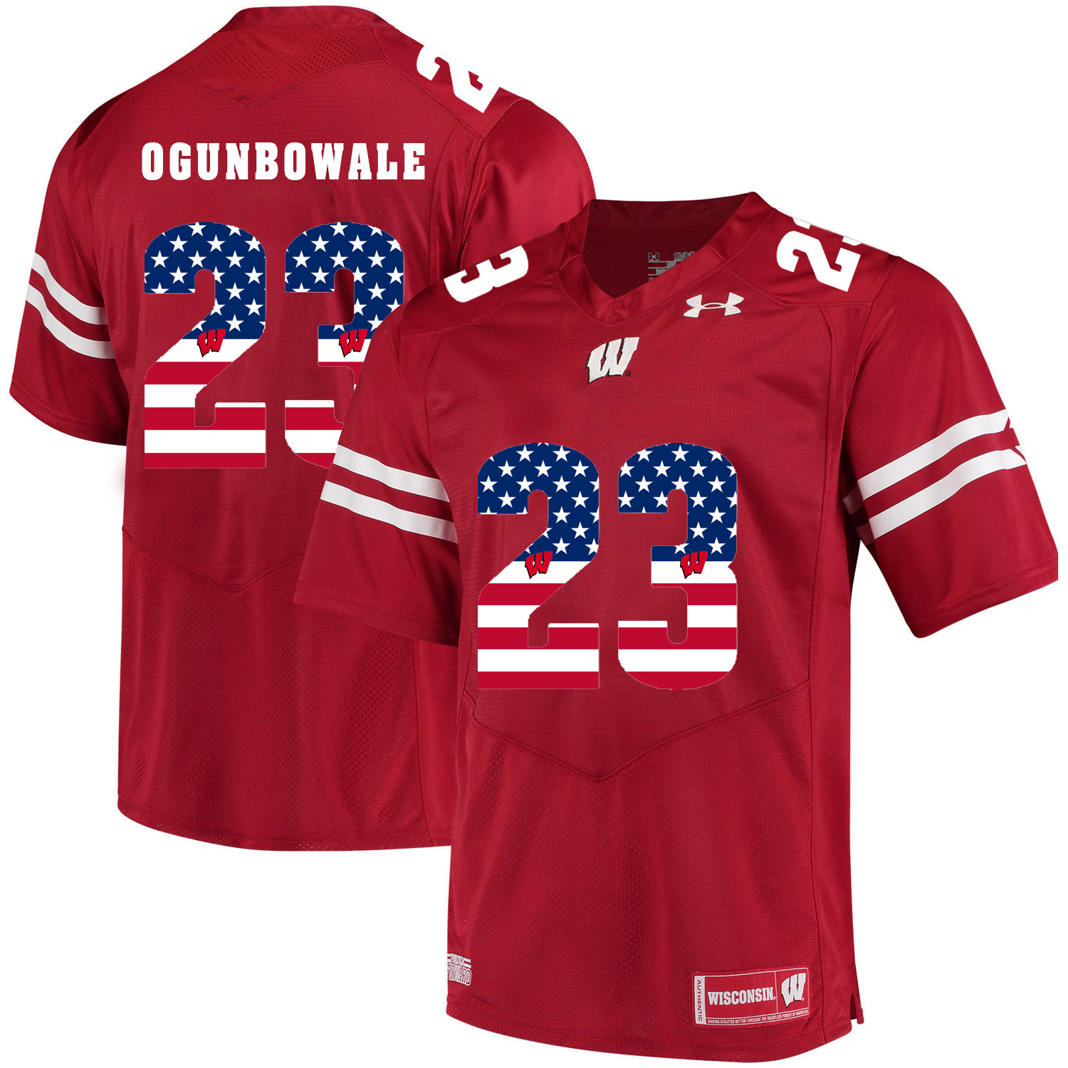 Wisconsin Badgers 23 Dare Ogunbowale Red USA Flag College Football Jersey