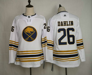 Women's Buffalo Sabres #26 Rasmus Dahlin White With Gold 50th Anniversary Adidas Stitched NHL Jersey