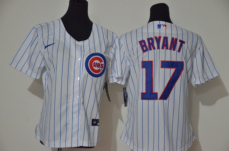 Women's Chicago Cubs #17 Kris Bryant White Stitched MLB Cool Base Nike Jersey