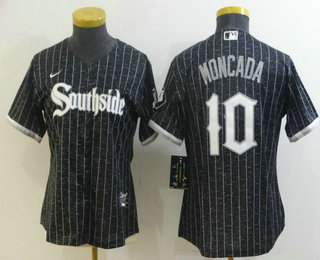 Women's Chicago White Sox #10 Yoan Moncada Black 2021 City Connect Stitched MLB Cool Base Nike Jersey