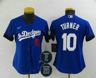 Women's Los Angeles Dodgers #10 Justin Turner Blue #2 #20 Patch City Connect Number Cool Base Stitched Jersey