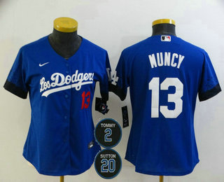 Women's Los Angeles Dodgers #13 Max Muncy Blue #2 #20 Patch City Connect Number Cool Base Stitched Jersey