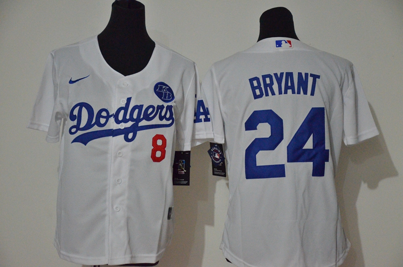 Women's Los Angeles Dodgers #24 Kobe Bryant White KB Patch Stitched MLB Cool Base Nike Jersey