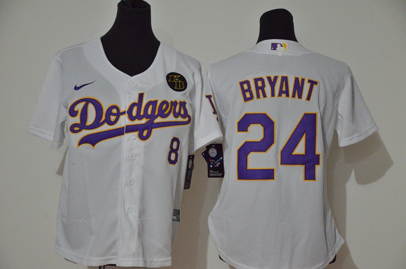 Women's Los Angeles Dodgers #24 Kobe Bryant White Purple Name KB Patch Stitched MLB Cool Base Nike Jersey