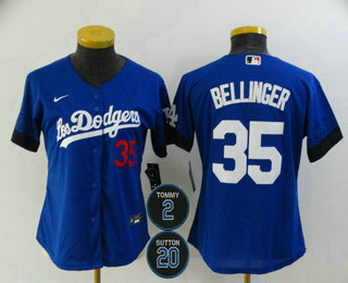 Women's Los Angeles Dodgers #35 Cody Bellinger Blue #2 #20 Patch City Connect Number Cool Base Stitched Jersey