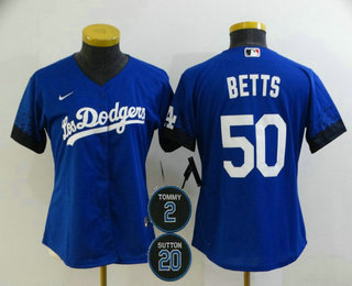 Women's Los Angeles Dodgers #50 Mookie Betts Blue #2 #20 Patch City Connect Cool Base Stitched Jersey