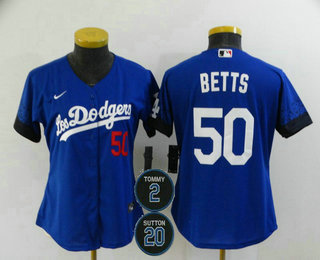 Women's Los Angeles Dodgers #50 Mookie Betts Blue #2 #20 Patch City Connect Number Cool Base Stitched Jersey