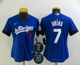 Women's Los Angeles Dodgers #7 Julio Urias Blue #2 #20 Patch City Connect Number Cool Base Stitched Jersey