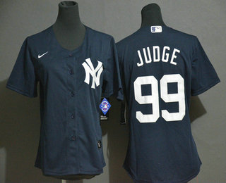 Women's New York Yankees #99 Aaron Judge Navy Blue White Number Stitched MLB Cool Base Nike Jersey