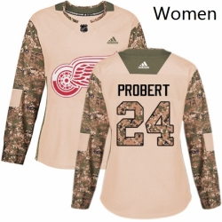 Womens Adidas Detroit Red Wings 24 Bob Probert Authentic Camo Veterans Day Practice NHL Jersey