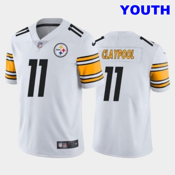 Youth #11 Chase Claypool Steelers 2020 NFL Draft White Vapor Limited kids Jersey