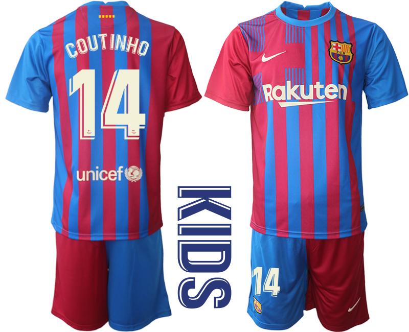 Youth 2021-2022 Club Barcelona home red 14 Nike Soccer Jerseys1