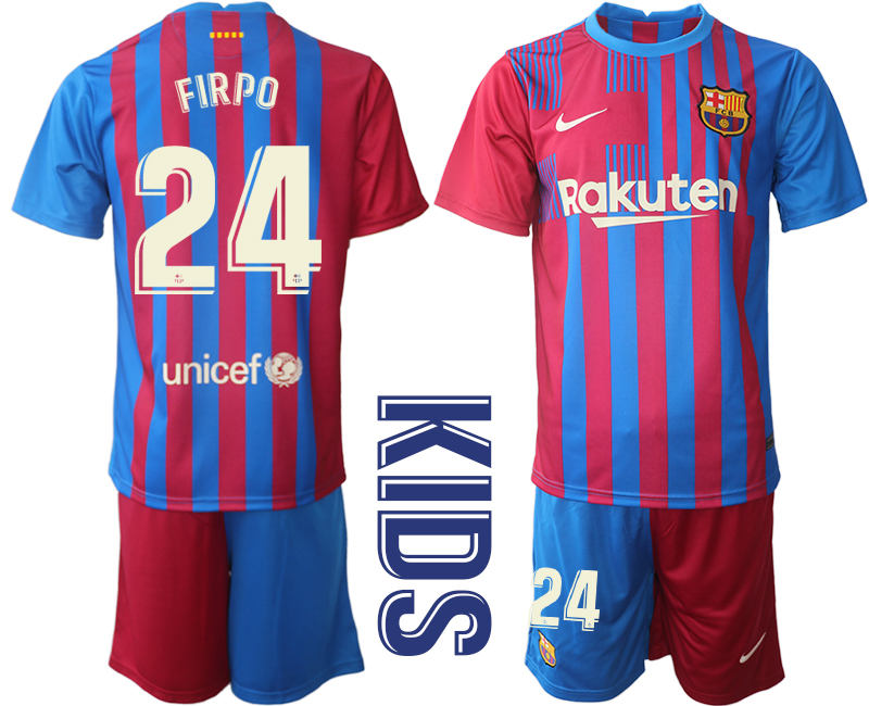 Youth 2021-2022 Club Barcelona home red 24 Nike Soccer Jerseys