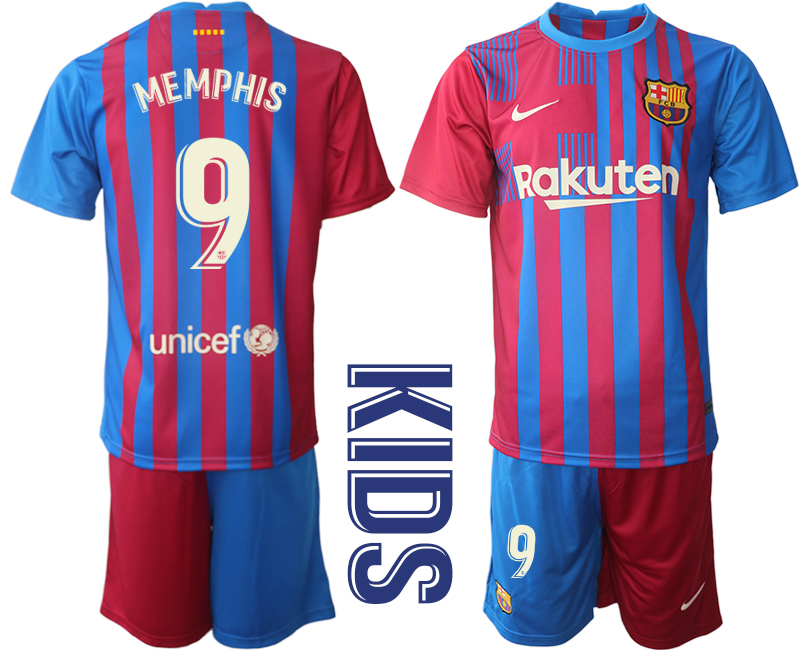 Youth 2021-2022 Club Barcelona home red 9 Nike Soccer Jerseys1