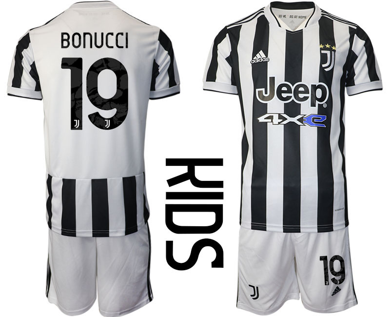 Youth 2021-2022 Club Juventus home white 19 Adidas Soccer Jersey