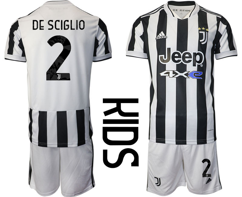 Youth 2021-2022 Club Juventus home white 2 Adidas Soccer Jersey