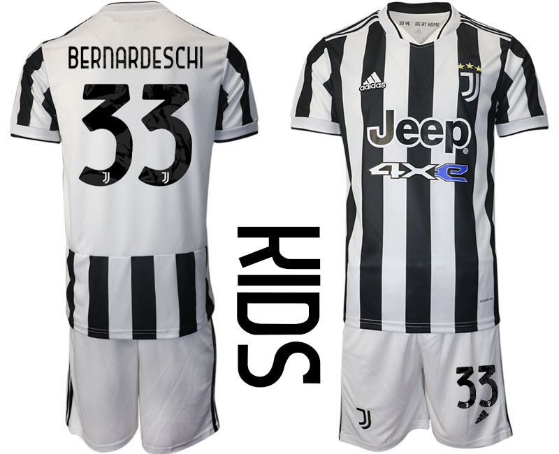 Youth 2021-2022 Club Juventus home white 33 Adidas Soccer Jersey