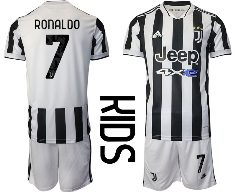 Youth 2021-2022 Club Juventus home white 7 Adidas Soccer Jersey