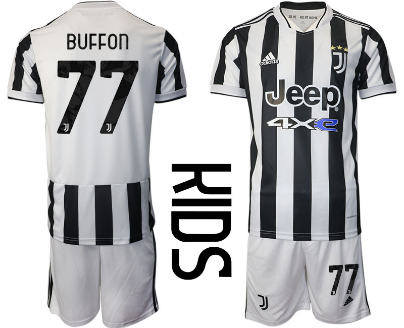 Youth 2021-2022 Club Juventus home white 77 Adidas Soccer Jersey