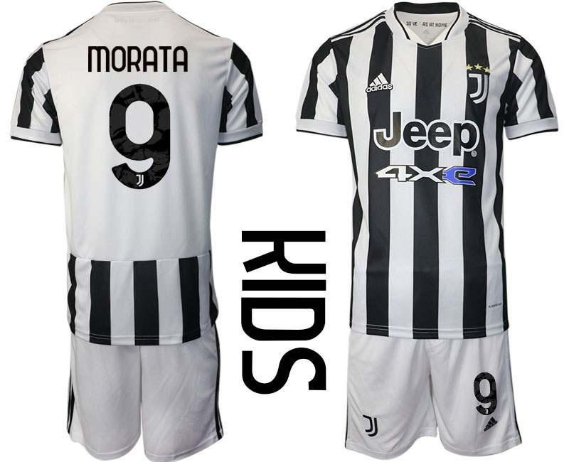 Youth 2021-2022 Club Juventus home white 9 Adidas Soccer Jersey
