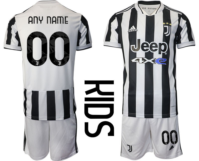 Youth 2021-2022 Club Juventus home white customized Adidas Soccer Jersey
