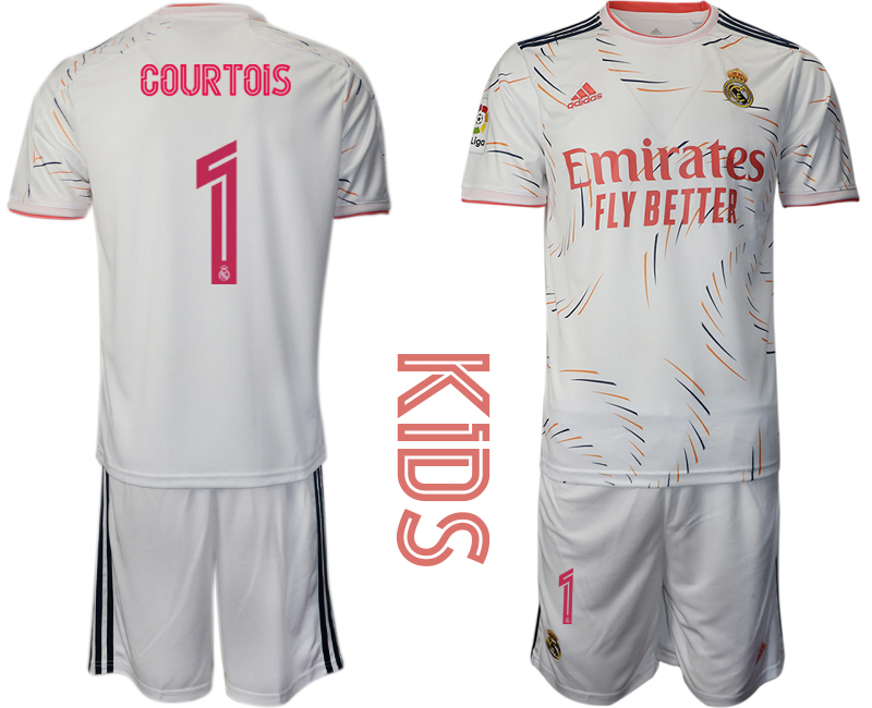 Youth 2021-22 Real Madrid home 1# COURTOIS soccer jerseys