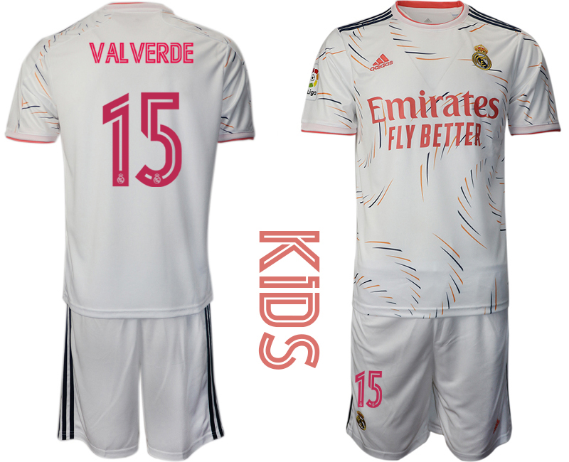 Youth 2021-22 Real Madrid home 15# VALVERDE soccer jerseys