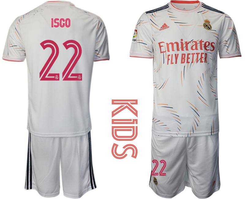 Youth 2021-22 Real Madrid home 22# ISCO soccer jerseys