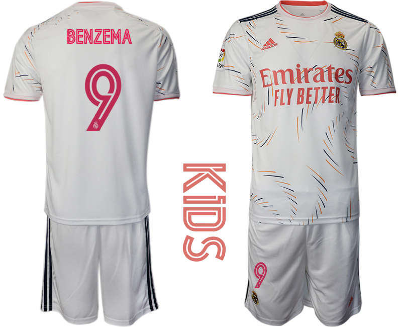 Youth 2021-22 Real Madrid home 9# BENZEMA soccer jerseys
