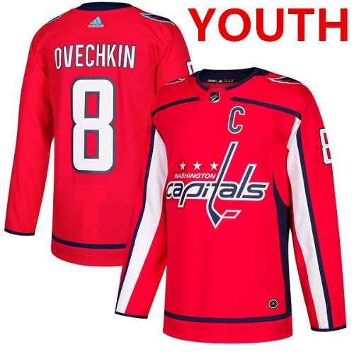 Youth Adidas Capitals #8 Alex Ovechkin Red Home Authentic Stitched NHL Jersey