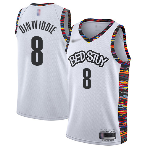 Youth Brooklyn Nets #8 Spencer Dinwiddie White Basketball 2019-20 City Edition Jersey