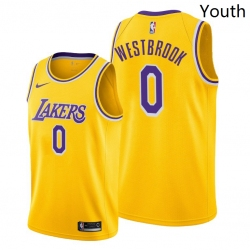 Youth Lakers Russell Westbrook 2021 trade gold icon edition jersey