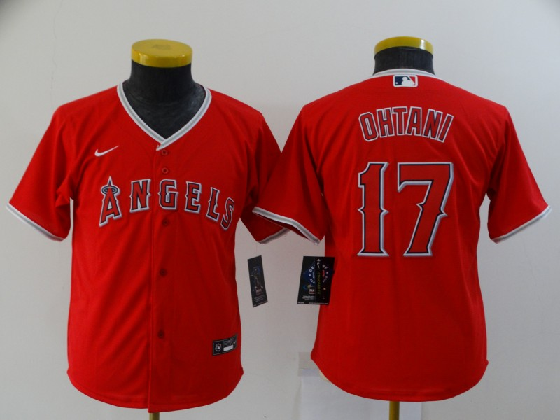 Youth Los Angeles Angels #17 Shohei Ohtani Red Stitched MLB Cool Base Nike Jersey