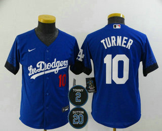 Youth Los Angeles Dodgers #10 Justin Turner Blue #2 #20 Patch City Connect Number Cool Base Stitched Jersey