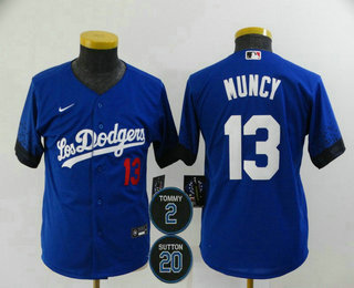 Youth Los Angeles Dodgers #13 Max Muncy Blue #2 #20 Patch City Connect Number Cool Base Stitched Jersey