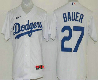 Youth Los Angeles Dodgers #27 Trevor Bauer White Cool Base Jersey