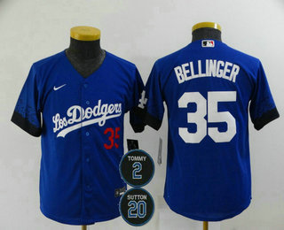 Youth Los Angeles Dodgers #35 Cody Bellinger Blue #2 #20 Patch City Connect Number Cool Base Stitched Jersey