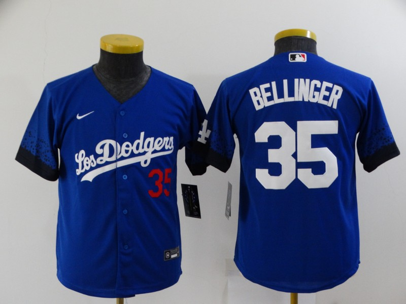 Youth Los Angeles Dodgers #35 Cody Bellinger Blue 2021 City Connect Number Cool Base Stitched Jersey