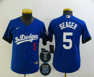 Youth Los Angeles Dodgers #5 Corey Seager Blue #2 #20 Patch City Connect Number Cool Base Stitched Jersey