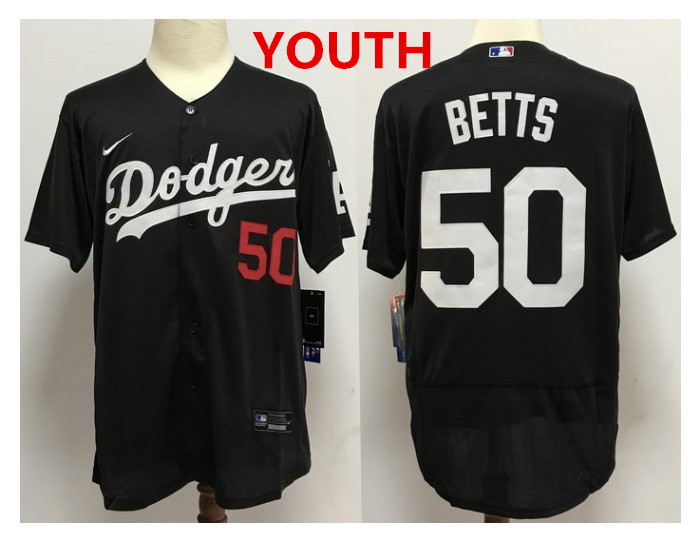 Youth Los Angeles Dodgers #50 Mookie Betts Black With Red Number Stitched MLB Cool Base Nike Jersey