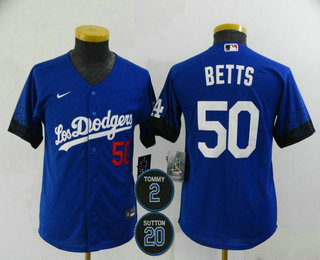 Youth Los Angeles Dodgers #50 Mookie Betts Blue #2 #20 Patch City Connect Number Cool Base Stitched Jersey