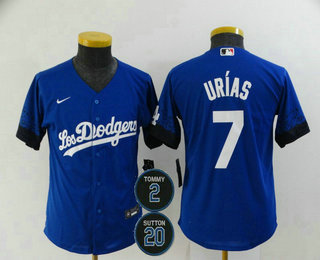 Youth Los Angeles Dodgers #7 Julio Urias Blue #2 #20 Patch City Connect Cool Base Stitched Jersey