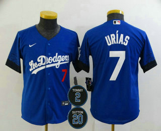 Youth Los Angeles Dodgers #7 Julio Urias Blue #2 #20 Patch City Connect Number Cool Base Stitched Jersey