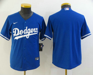 Youth Los Angeles Dodgers Blank Blue Stitched MLB Cool Base Nike Jersey