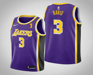 Youth Los Angeles Lakers #3 Anthony Davis 2020 NBA Finals Champions Statement Purple Jersey